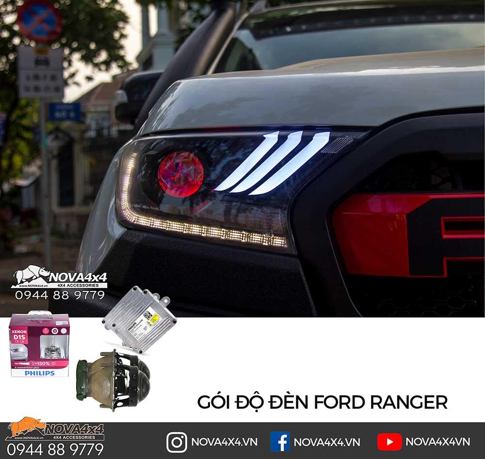 Gói độ Bi Xenon và trang trí Sọc Mustang 2019, Mắt quỷ đổi màu và Mí Led chạy