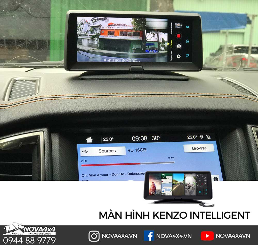 Camera kiêm màn hình giải trí Kenzo Intelligent, truy cập 4G, giải trí YouTube