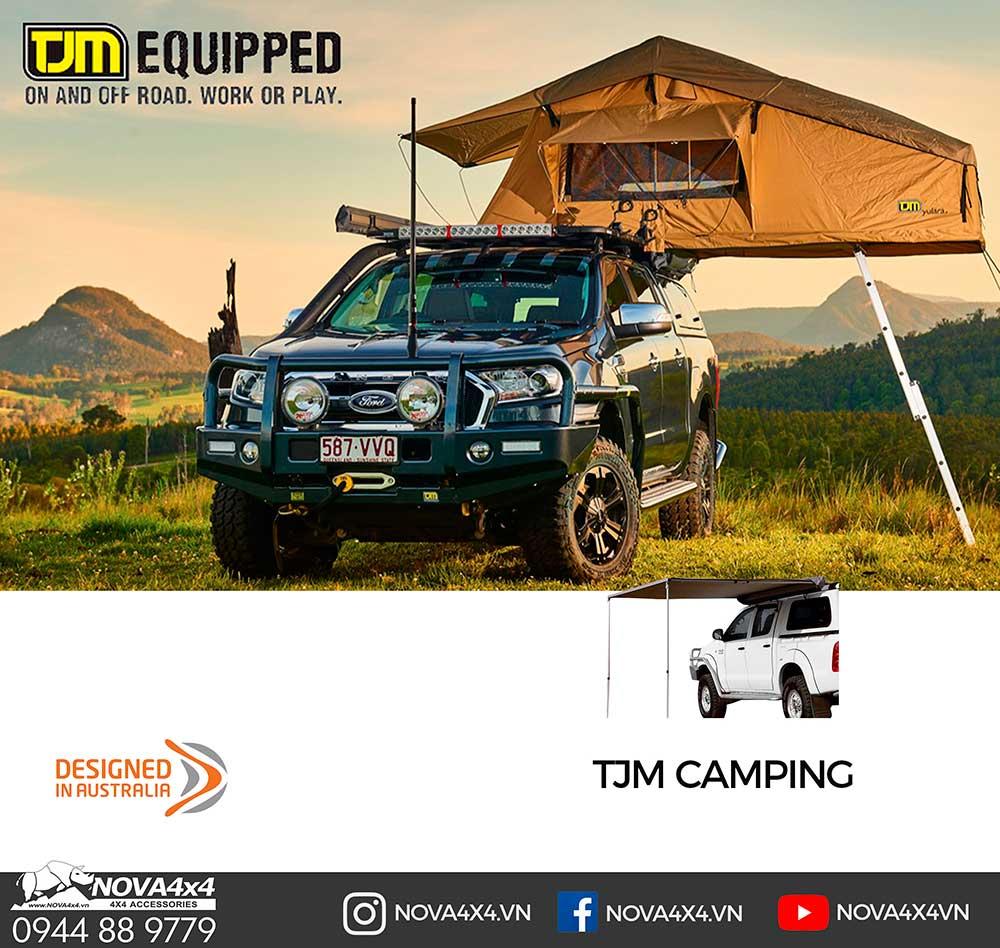 Các món đồ cắm trại của thương hiệu TJM như Lều trên xe, Ghế, Tủ lạnh ...
