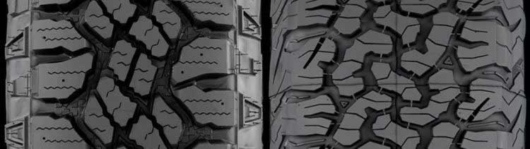So sánh gai lốp Goodyear Wrangler với Lốp BFGoodrich KO2